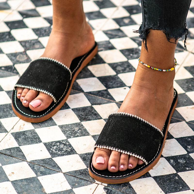 Sandale en velours noir